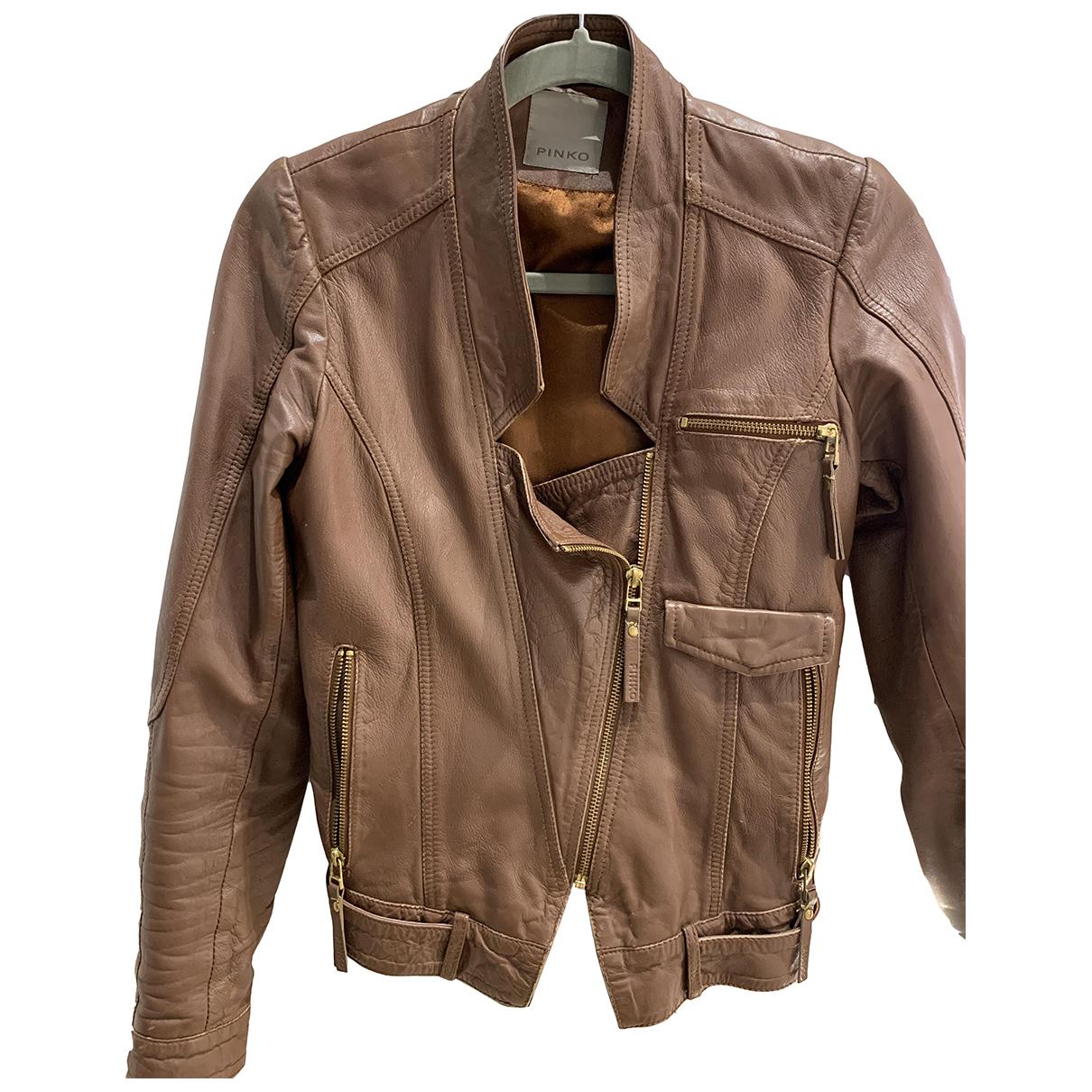Pinko - Veste   pour femme en cuir - marron
