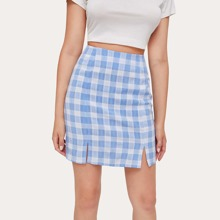 Plaid Split Hem Skirt