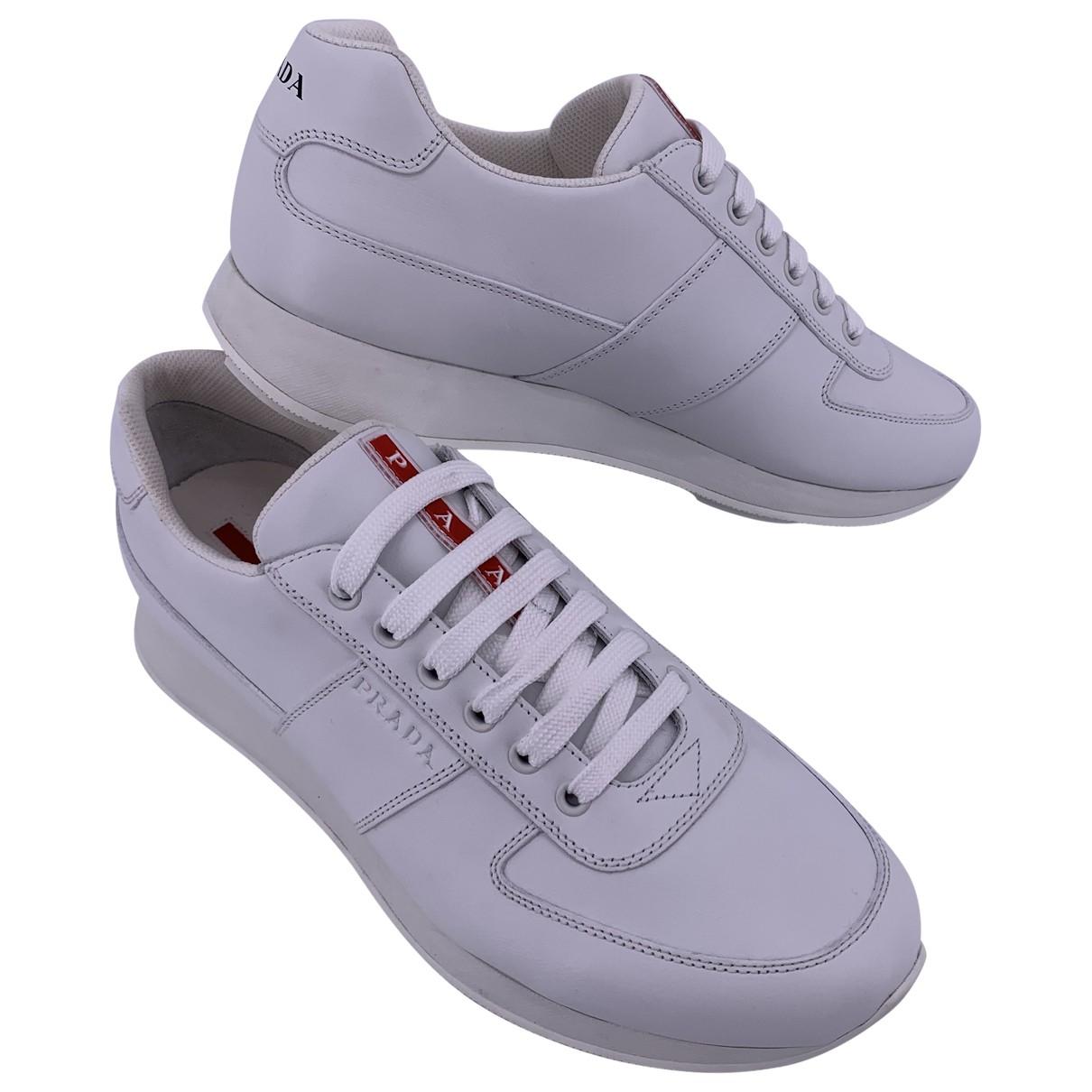 Prada \N White Leather Trainers for Men 44 EU