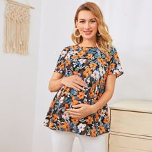 Maternity Floral Print Peplum Top