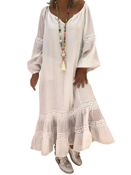 Milanoo Vestido largo blanco  Moda Mujer Color liso con manga larga Vestidos de algodon de talla muy grande Escote con fisura Primavera Otoño