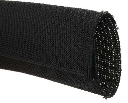 RS PRO Braided PET Black Cable Sleeve, 32mm Diameter, 3m Length