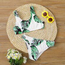 Maedchen Bikini Set mit zufaelligem tropischem Muster