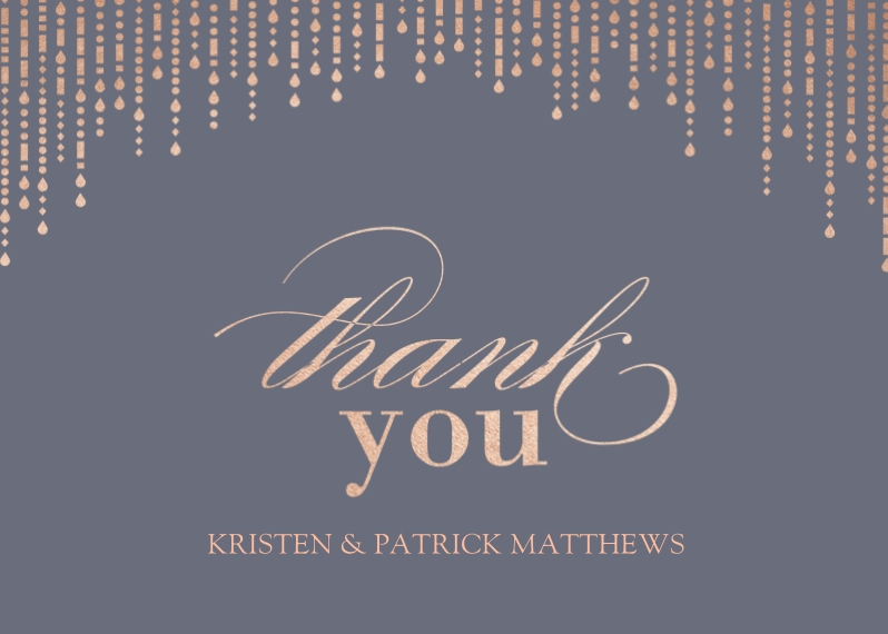 Wedding Thank You Mail-for-Me Premium 5x7 Folded Card , Card & Stationery -Metallic Garland - Thank You
