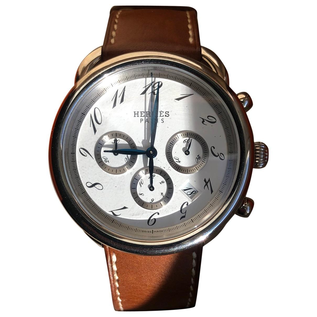 Hermes Arceau Chronographe Uhr in  Braun Stahl