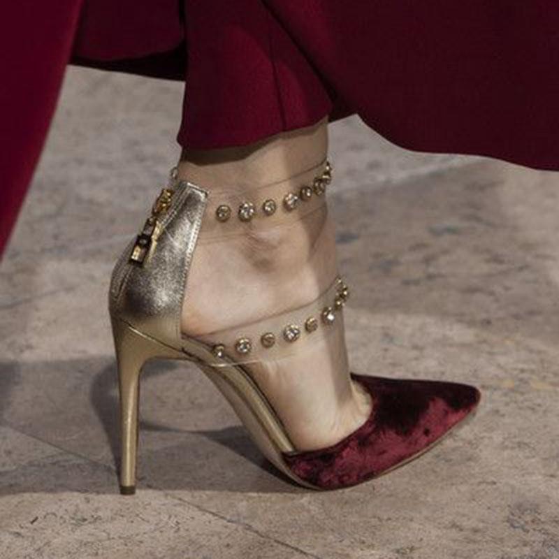 Ericdress Pointed Toe Stiletto Heel Zipper Casual Sandals