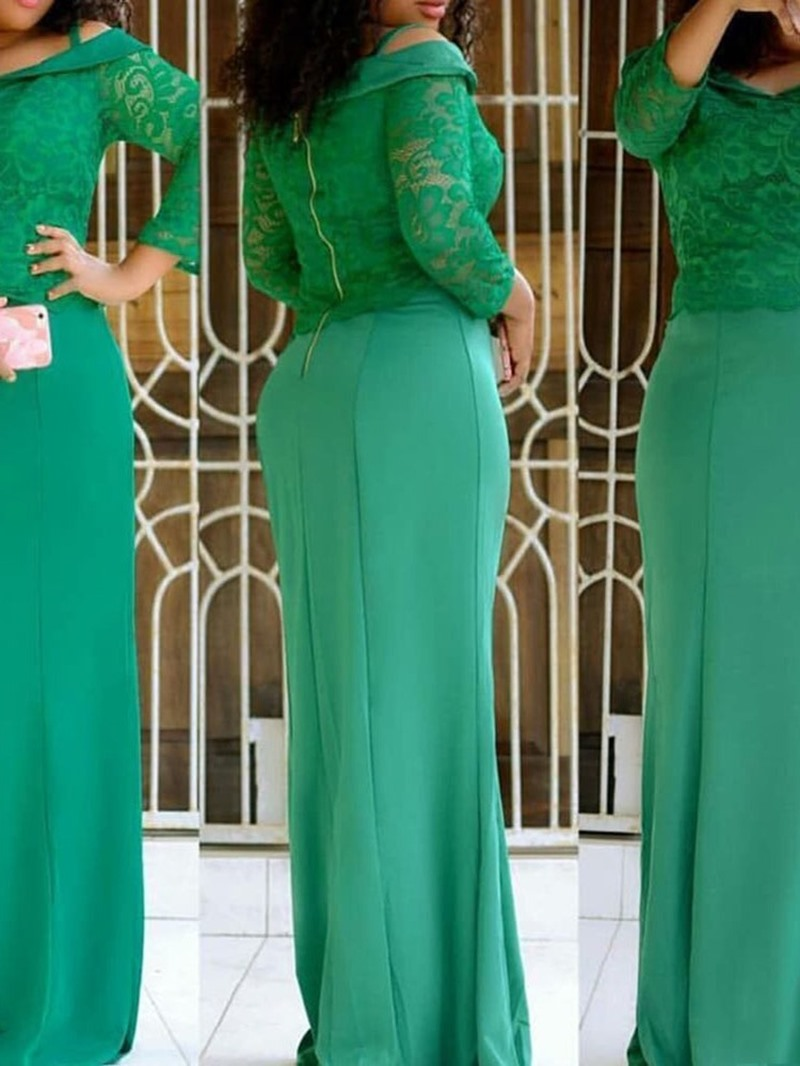 Ericdress Floor-Length Patchwork Three-Quarter Sleeve Floral A-Line Dress
