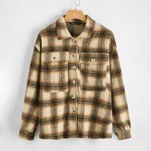 Button Front Flap Pocket Plaid Coat