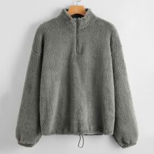 Drop Shoulder Drawstring Hem Zip Half Placket Teddy Sweatshirt