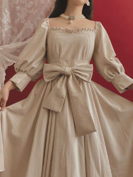 Milanoo Classic Lolita OP Dress Puff Sleeves Lolita Vintage One Piece Swing Dresses