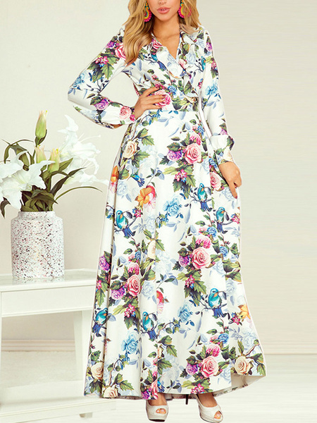Milanoo Maxi Dresses Long Sleeves White Floral Print V-Neck Lace Up Polyester Floor Length Dress
