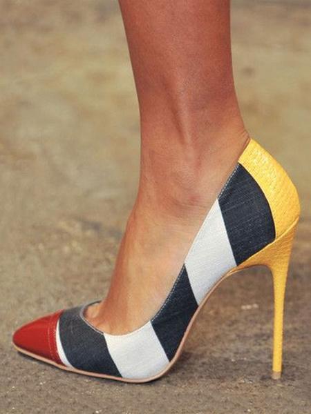 Milanoo Zapatos de tacon de puntera puntiaguada rojos de color-blocking de tacon de stiletto