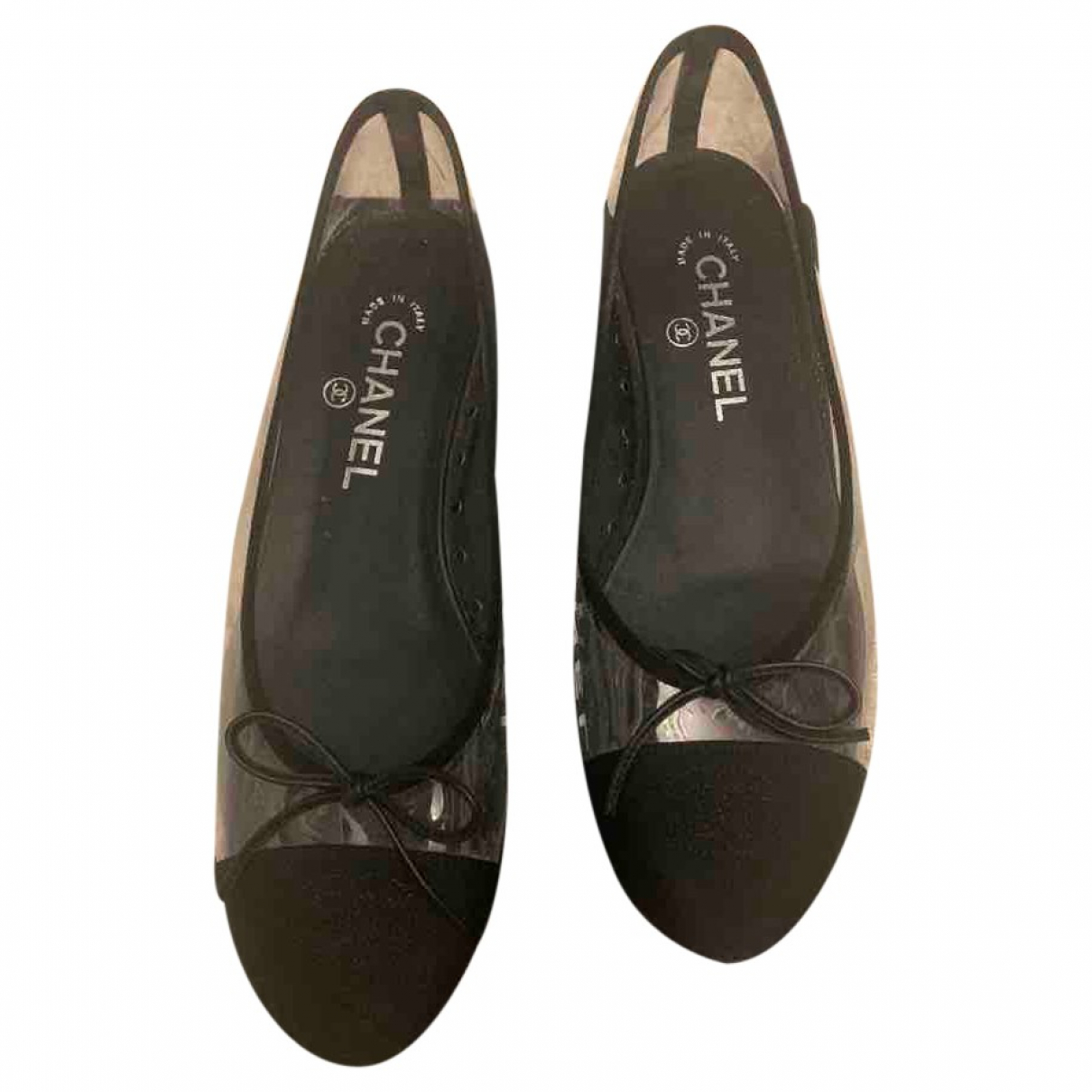 Chanel \N Ballerinas in  Schwarz Leinen