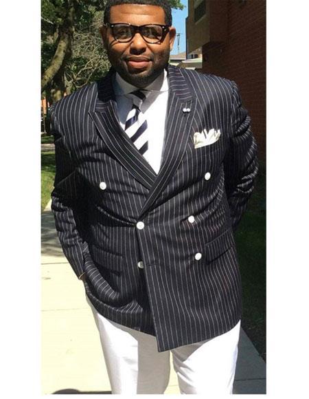 Men's Double Breasted Peak Lapel Stripe Pattern Black Suit