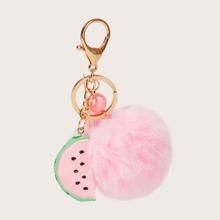 Pom Pom & Watermelon Charm Keychain