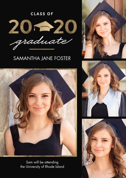 2020 Graduation Announcements 5x7 Cards, Premium Cardstock 120lb, Card & Stationery -Graduation 2020 Gold Cap by Tumbalina