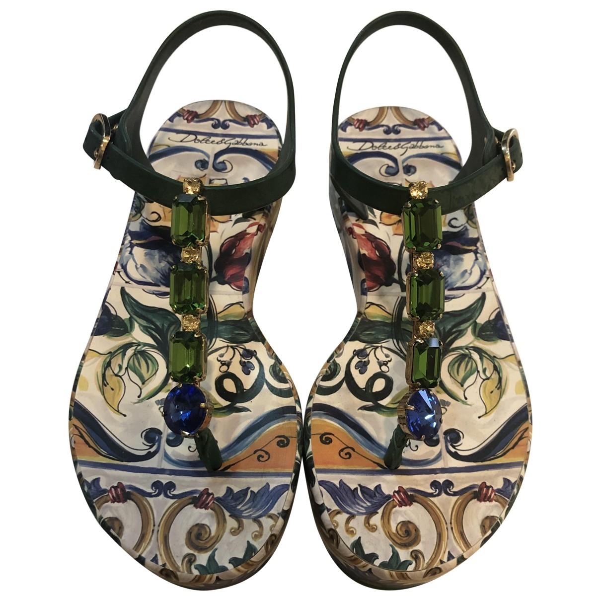 Dolce & Gabbana - Sandales   pour femme en caoutchouc - vert