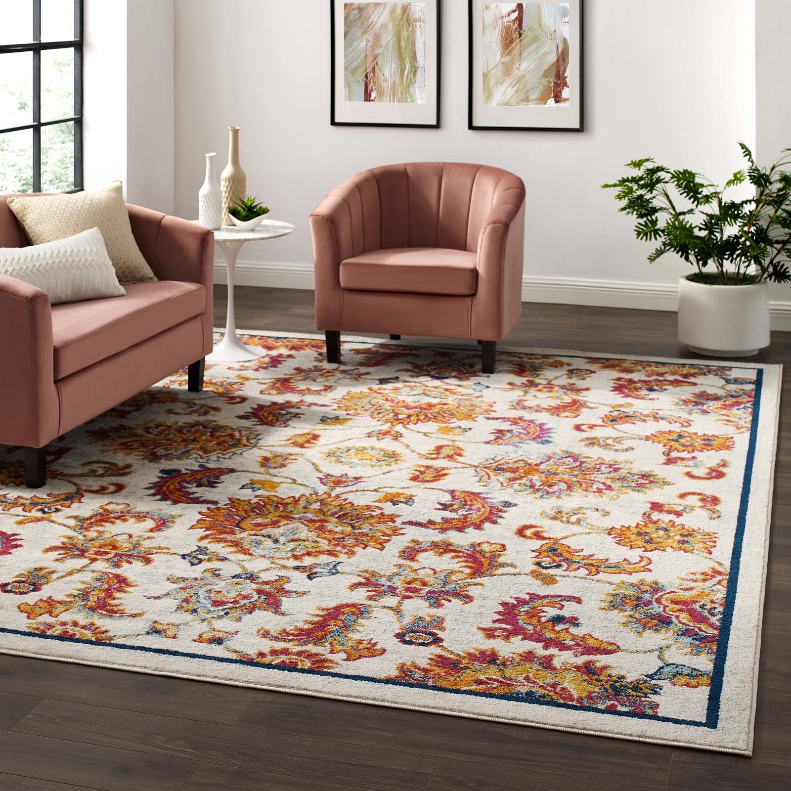Entourage Azami Distressed Vintage Floral Lattice 8x10 Area Rug in Ivory, Blue, Orange, Yellow, Red