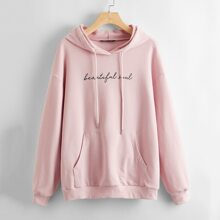 Letter Graphic Kangaroo Pocket Hooded Pullover