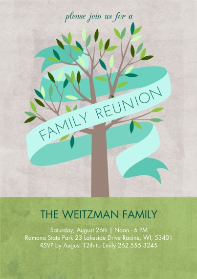 Party Invitations 5x7 Cards, Premium Cardstock 120lb with Rounded Corners, Card & Stationery -Family Reunion Tree