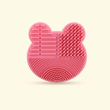 1pc Bear Shaped 2 In 1 Makeup Brush Cleaning Pad