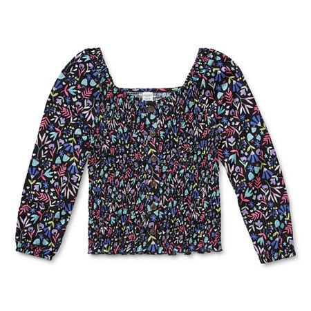 Arizona Little & Big Girls Long Sleeve Button-Down Shirt, X-large (16) , Black