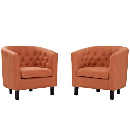 Prospect Collection EEI-3150-ORA-SET Set of 2 Armchairs with Non-Marking Foot Caps  Chesterfield Style  Espresso Stained Wood Legs and Fabric