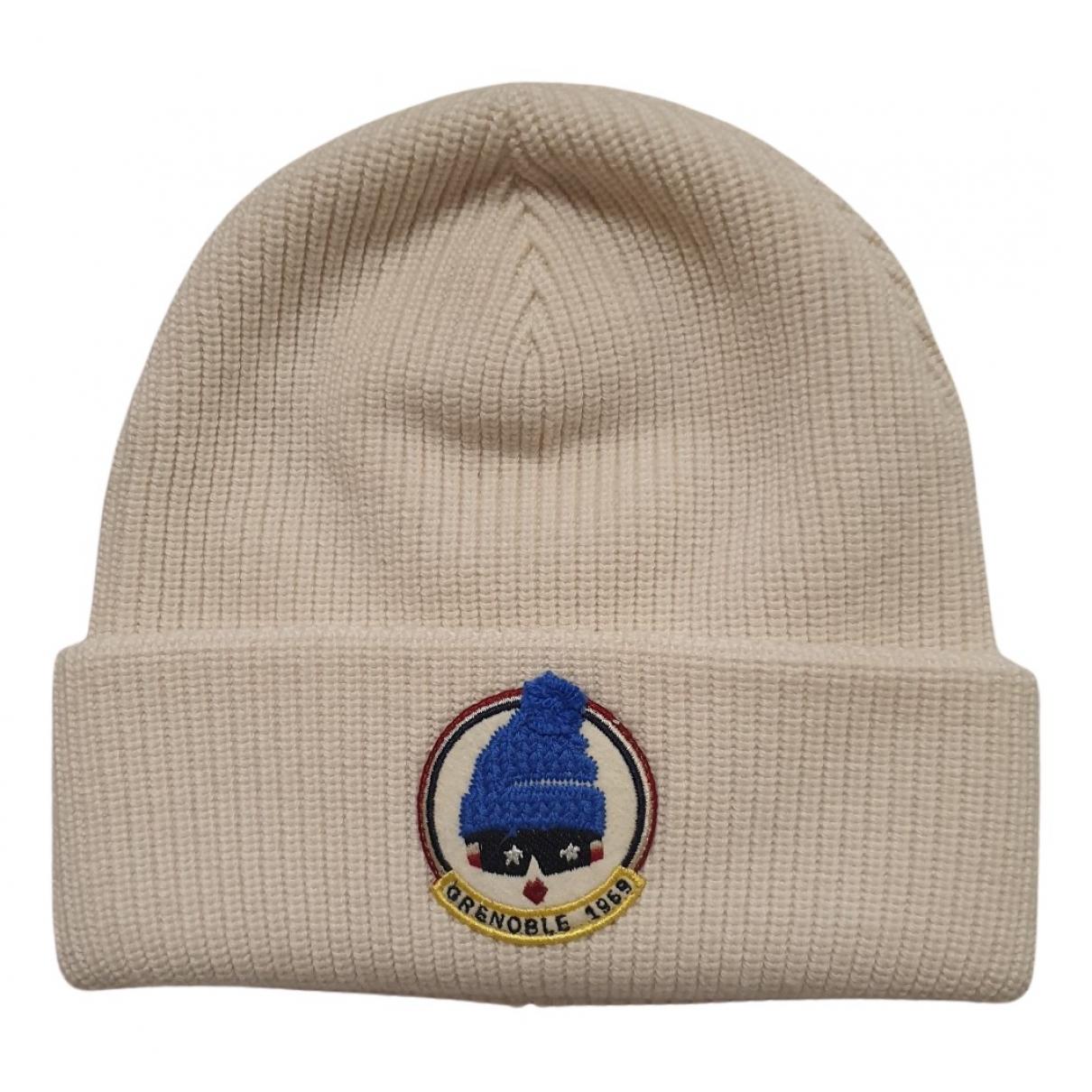 Moncler - Chapeau & Bonnets   pour homme en laine - blanc