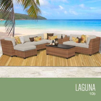 LAGUNA-10b-BEIGE Laguna 10 Piece Outdoor Wicker Patio Furniture Set 10b with 2 Covers: Wheat and