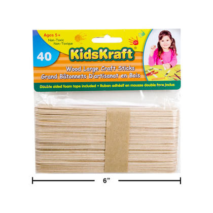 Natural Wood Popsicle Large Craft Sticks for DIY Crafts Projects Creative Designs, 40 Pieces