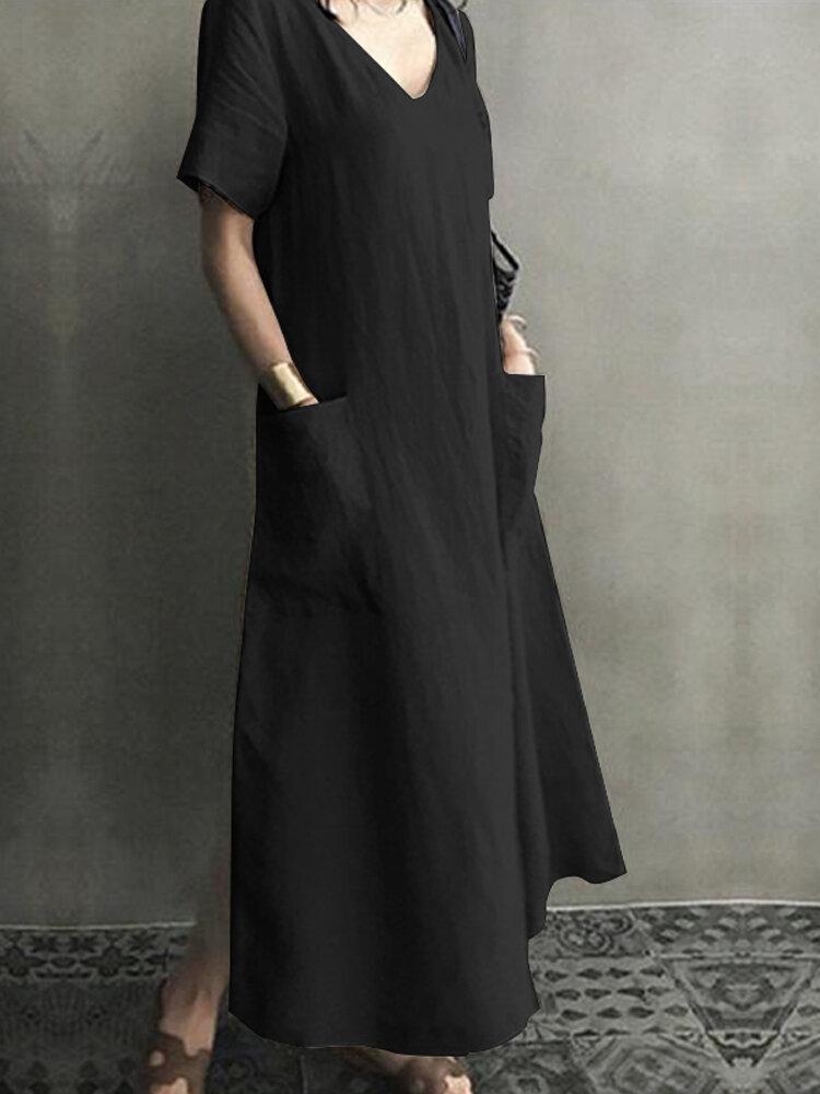 Vintage Short Sleeve V Neck Pockets Dress