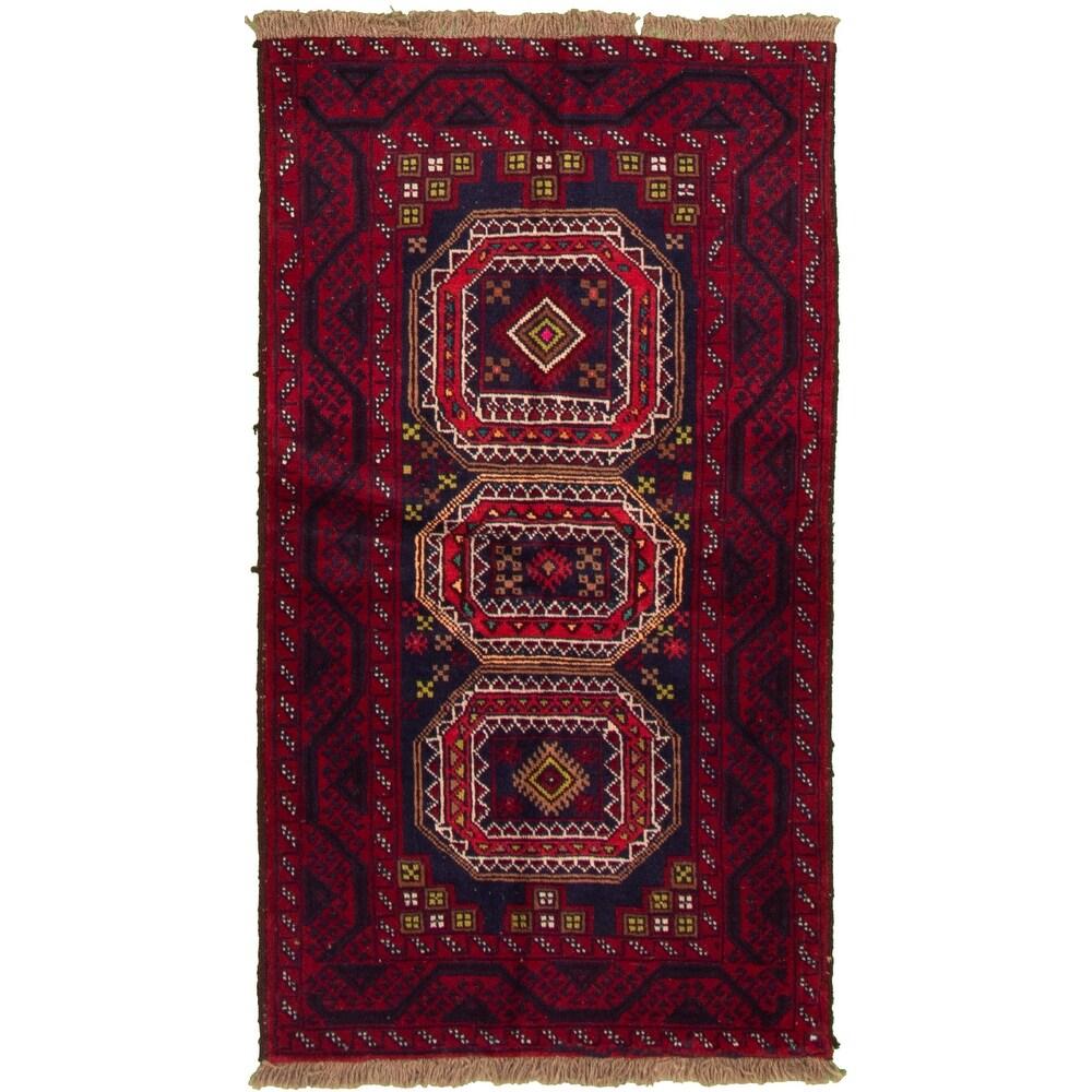 ECARPETGALLERY Hand-knotted Rizbaft Dark Red Wool Rug - 3'2 x 5'11 (Dark Red - 3'2 x 5'11)