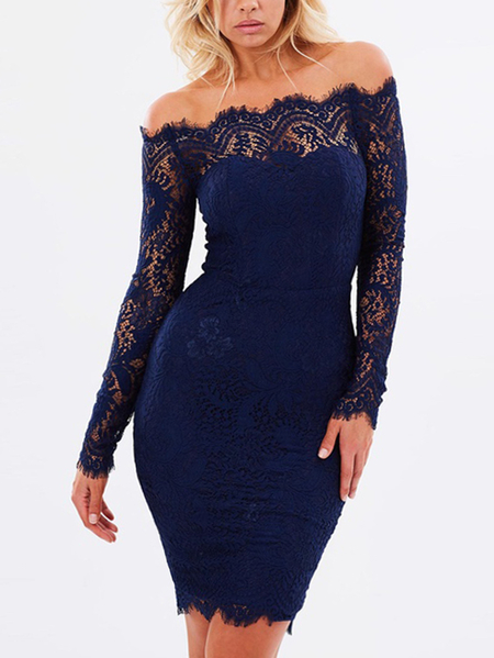 Yoins Navy Lace Off The Shoulder Long Sleeves Dress