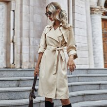 Solid Roll Up Sleeve Belted Trench Coat