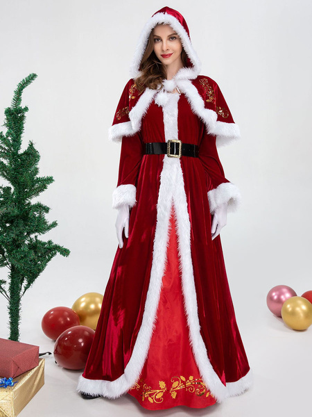 Milanoo Women\s Christmas Costume Red Polyester Polyester Two-Tone Holidays Dress