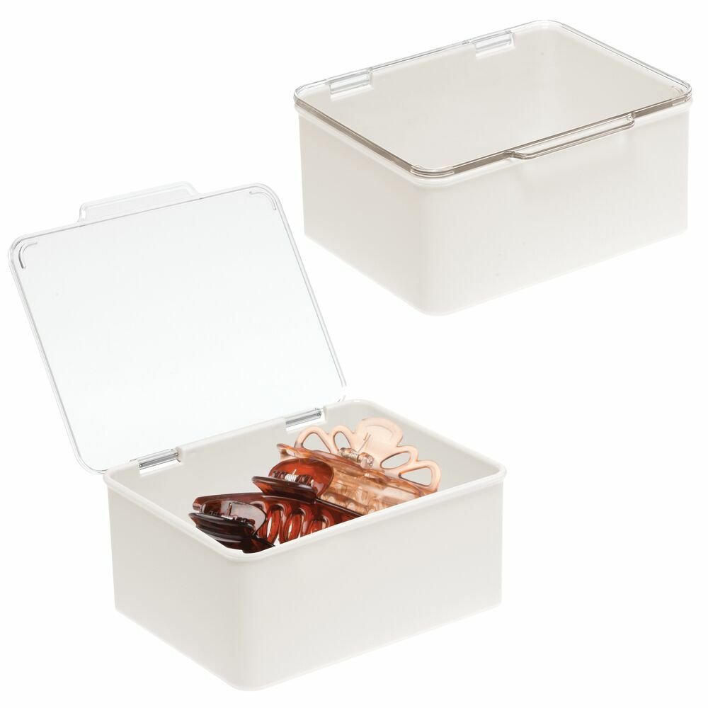 Stackable Bath Storage Organizer Box with Lid in Cream/Clear, by mDesign