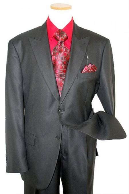 Classic Collection Solid Black Super s Merino Wool and Silk Suit