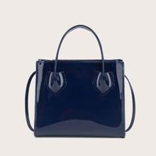 Lackleder Handtasche mit zwei Griffe