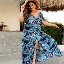 Vestido de muslo con abertura de hombros descubiertos con estampado tropical - grande