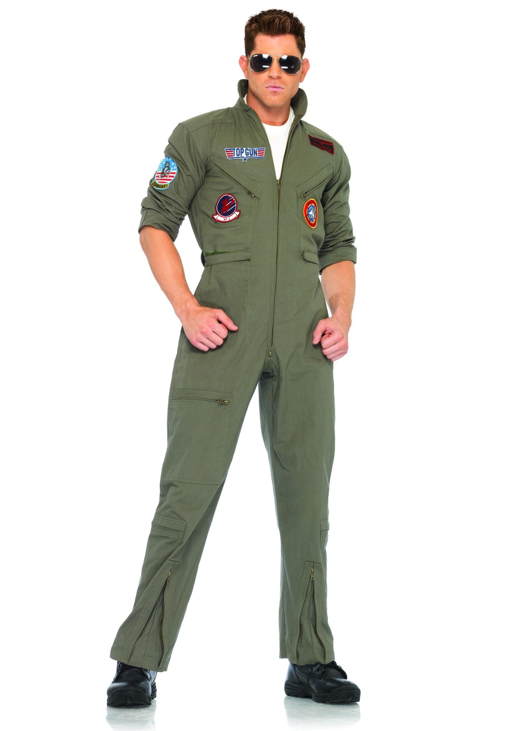 Men's Top Gun Flight Suit Costume | Pilot Halloween Costume