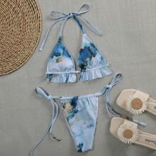 Bañador bikini con cordon lateral micro triangulo de acuarela