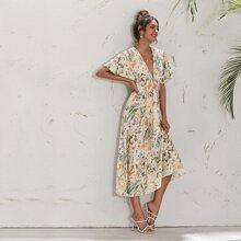 Batwing Sleeve Shirred Waist Floral Dress