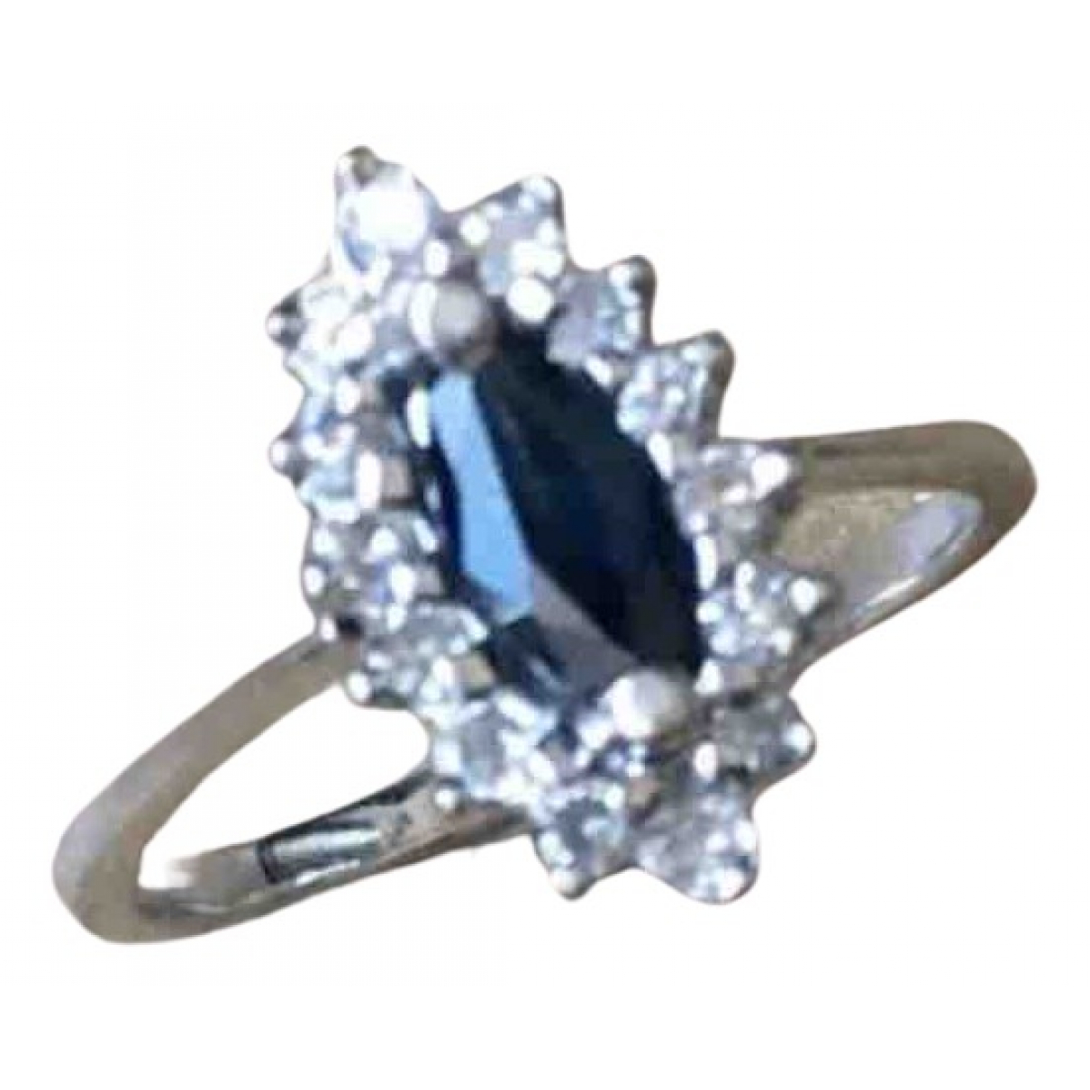 Non Signe / Unsigned \N Ring in  Blau Weissgold