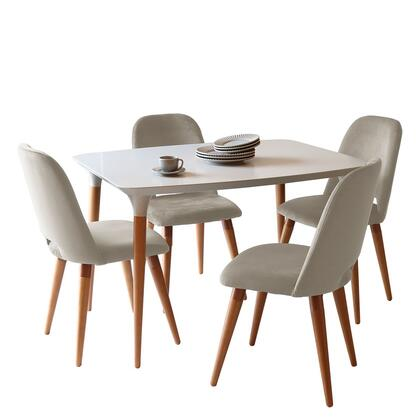 2-10157511020562 5-Piece HomeDock 45.47 Dining Set with 4 Selina Accent Velvet Chairs in Off White and