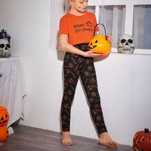 Schlafanzug Set mit Buchstaben & Halloween Muster