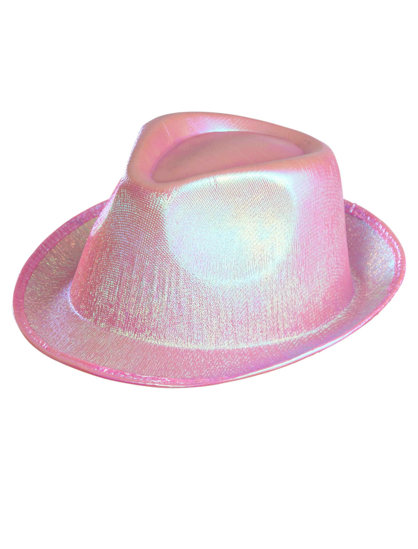 Kostuemzubehor Gangsterhut rosa schimmernd