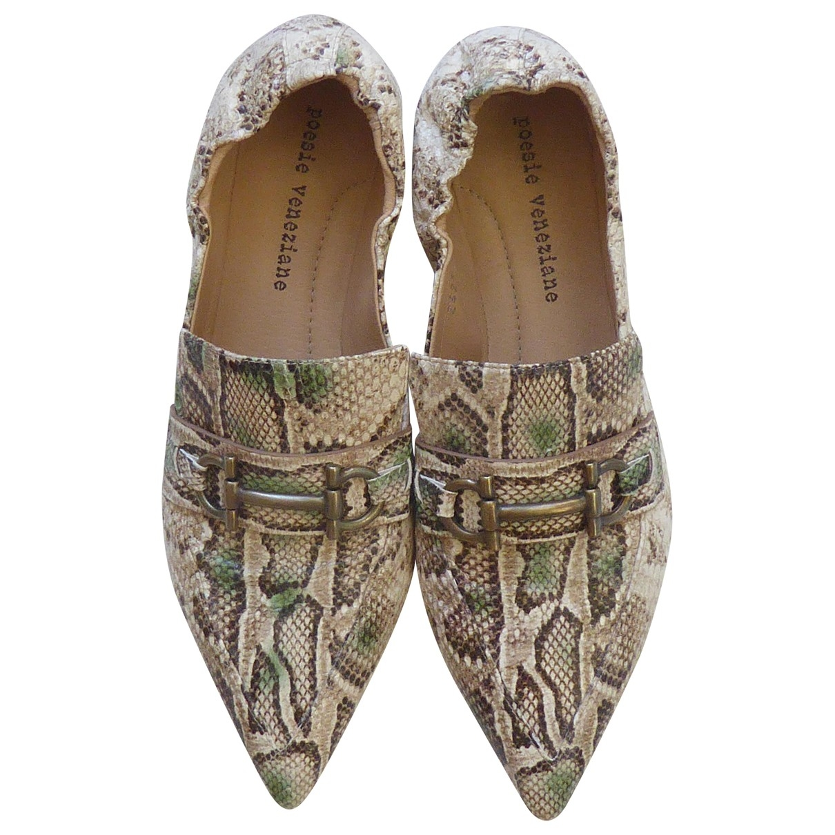 Non Signé / Unsigned \N Beige Leather Flats for Women 38 EU