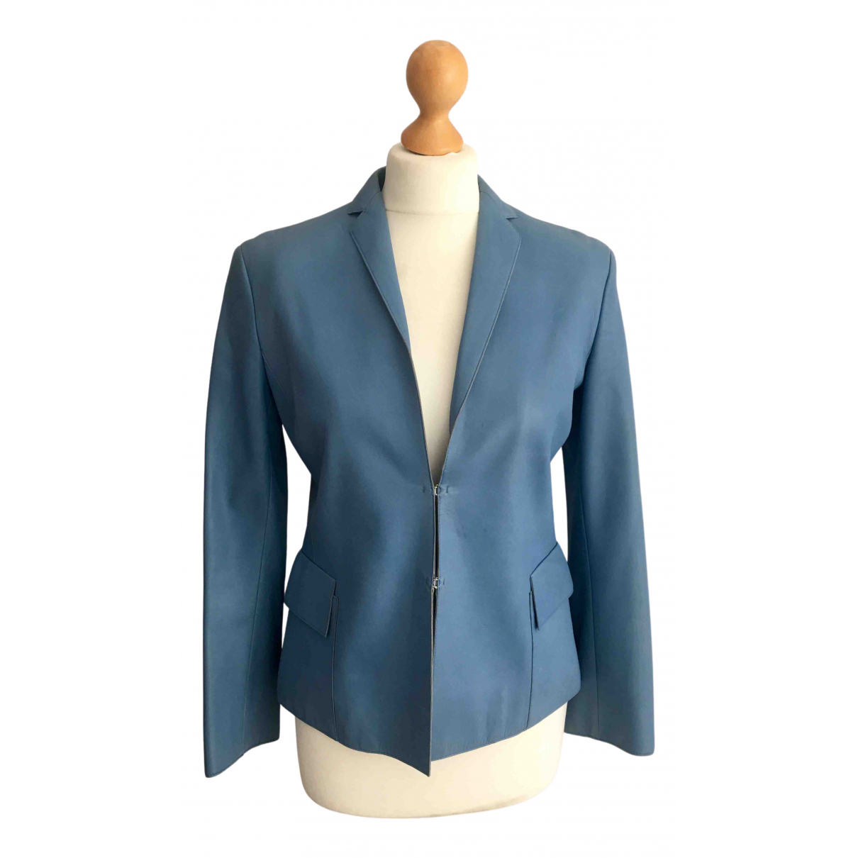 Akris N Blue Leather jacket for Women 38 FR