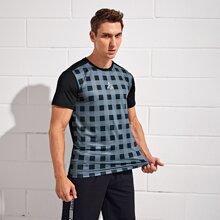 Sports T-Shirt mit Buchstaben & Karo Muster