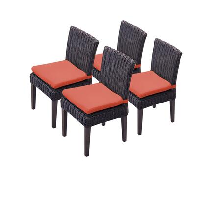 TKC094b-ADC-2x-C-TANGERINE 4 Venice Armless Dining Chairs with 2 Covers: Wheat and